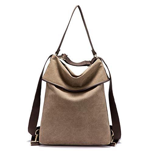 Canvas Tasche Rucksack Damen UPDATE VERSION Handtasche Damen Herren Schultertasche Groß Umhängetasche Damen Anti Diebstahl Daypack für Alltag Büro Schule Ausflug Einkauf - Brown