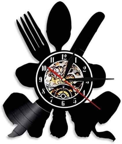 Regalo Reloj de pared de vinilo reloj de registro, vajilla, reloj vintage, reloj de cuarzo silencioso, reloj de pared, regalo personalizado hecho a mano para niños y adultos, 12 pulgadas -12 pu