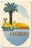 Islas Canarias Póster de Pared Metal Creativo Placa Decorativa Cartel de Chapa Placas Vintage Decoración Pared Arte para Carretera Bar Café Tienda