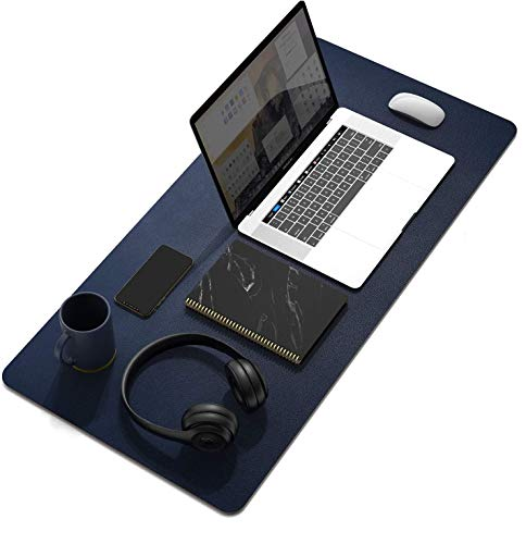 SYGA Desk Pad Protector Waterproof PU Desk Mat Blotters on Desktop Laptop Computer Gaming Keyboard Mouse Pad Non-Slip Desk Writing Mat Cover for Office & Home 90CM * 45CM Blue & Yellow