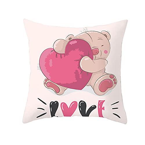 HJKGSX Set de 4 Hogar Fundas Cojines Lino Sofá Throw Cojín Decoración Throw Pillow Case para Sala de Estar sofás Dormitorio Jardín Coche Almohada Caso de la Cubierta 45x45 cm - Oso Rosa
