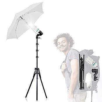 JS JULIUS STUDIO [New] 33  3-Fold Ultra-Compact Professional Photography Studio Lighting Flash Translucent White Soft Umbrella Kit Light Holder 6500K Lighting Bulb Portrait Shooting JSAG730