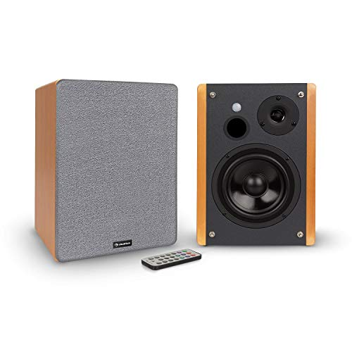 AUNA Line 500 A -Speakers da Mensola, Coppia Casse, Altoparlanti Attivi, 2 x 60 W, 2 x 30 W RMS, Woofer: 5'(12,5 cm), Tweeter: 1',(2,5 cm), Streaming Bluetooth, Porta USB/SD per MP3, Look Legno/Nero