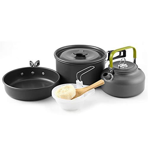 TANGIST Juego de Utensilios 9 PCS Camping Kit de Portátil Y Liviano Juego de Cocina Al Aire Libre de Aluminio Antiadherente Set Cocina Camping para Excursión Senderismo (Color : Black)
