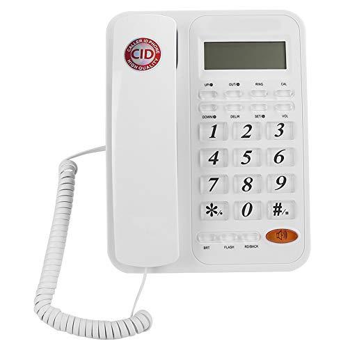 Teléfono con Cable con identificador de Llamadas, teléfono Fijo de Escritorio/Pared, Sistemas duales DTMF y FSK, Pantallas LCD, 24 Tonos de Timbre, Llamada con Manos Libres, para Oficina en casa