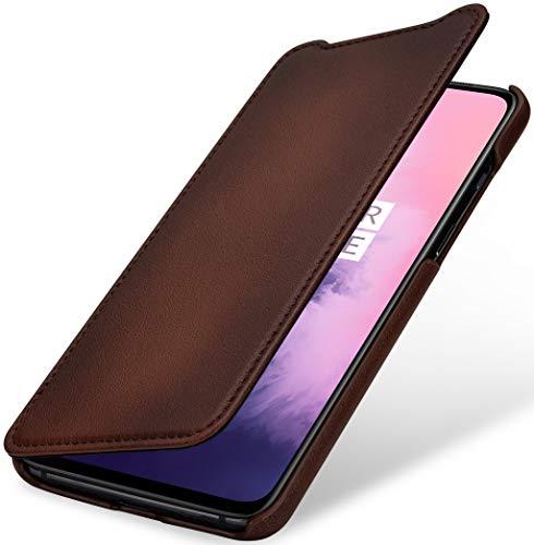 StilGut Hülle geeignet für OnePlus 7 Lederhülle Book Type, braun antik