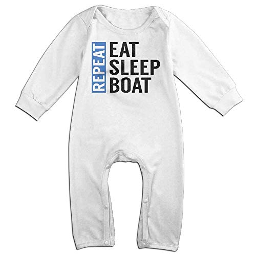 TOPDIY Eat Sleep Boat Repeat Long Sleeve Baby Bodysuit Bodysuit