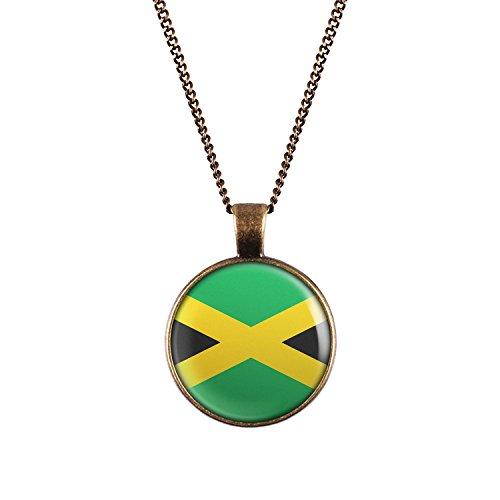 WeAreAwesome Jamaika Flagge Halskette - Karibik Länderkette mit Fahne Anhänger Unisex Kette