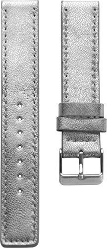 Oozoo Armband Uhrenband Uhrenarmband Leder Lederband mit Dornschließe Silberfarben - 18 mm