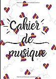 Cahier De Musique: Avec Portées|Grand Format A4| Pages Avec Lignes |120 Pages| | Page De Présentation |Couverture Originale Marbrée En Blanc Avec Coeurs.