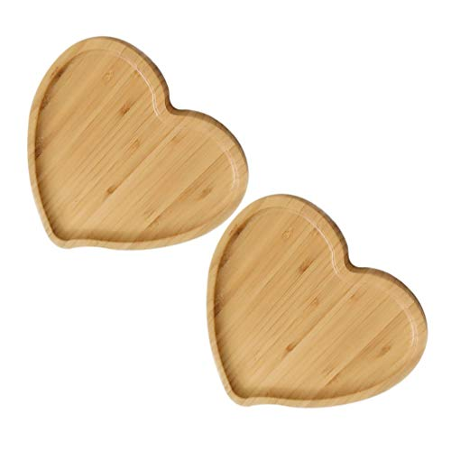 Cabilock 2pcs Wood Heart Shape Plates Ring Jewelry Wood Holder Wood Serving Trays for Snack Dessert Gifts for Friend Wedding Anniversary Birthday 19519516cm