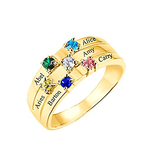 Personalized Mother Rings with 5 Name and 5 Simulated Birthstones Rings for Women Promise Rings for Best Friend(5)