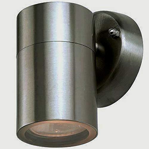 Hochwertige Edelstahl-Außen-Wand-Leuchte-Lampe Bornholm 1 flammig Unterlicht Fassung Gu10 max. 35W, H: 9-12cm, D: 6cm, Halterung D: 8,5cm, IP44, Balkon-Terrassen-Eingangs-Leuchte-Lampe-Strahler-Spot