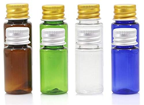 10pcs 5ML10ML 15ML 20ML 30ML 50ML 60ML 100ML Crème Lotion cosmétiques Container Trousses Bouteille Vide en Plastique avec Bouchon à vis (Couleur : Bleu, Taille : Gold Cap)