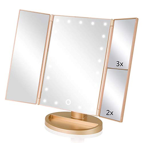 Espejo de Maquillaje con LED,Espejo de Maquillaje Tríptico con Aumento 1x, 2X, 3X, Espejo Cosmético Pantalla Táctil en Iluminacíon 21 Led, Adjustable 180º (Oro)