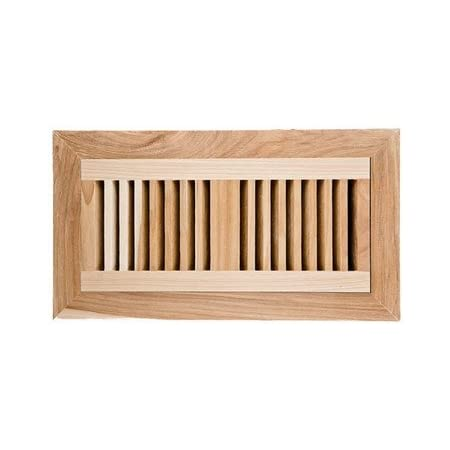 Hickory Flush Mount Wood Vent Cover With Frame Metal Damper Size 4 X 10 Heating Vents