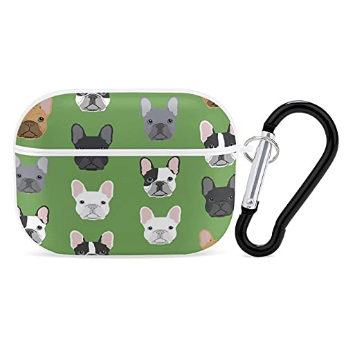 Shockproof Case Cover Compatible with AirPods Pro Wireless Charging Case Green Frenchie Dog, Full Protective Plastic Cover with Keychain, LED Visible