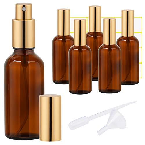 Amber Glass Spray Bottle 3.4oz for Cologne,Perfume,Essential Oils,Refillable Golden Fine Mist Sprayers(6 PACK)