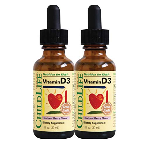 ChildLife Essentials Vitamin D3 for Infants, Babys, Kids, Toddlers, Children, and Teens, Berry Flavor, Glass Bottle, 1-Ounce (Pack of 2)