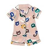 Janly Clearance Sale Conjunto de trajes para niños de 0 a 5 años, manga corta con botones para niños de 2 a 3 años (rosa)