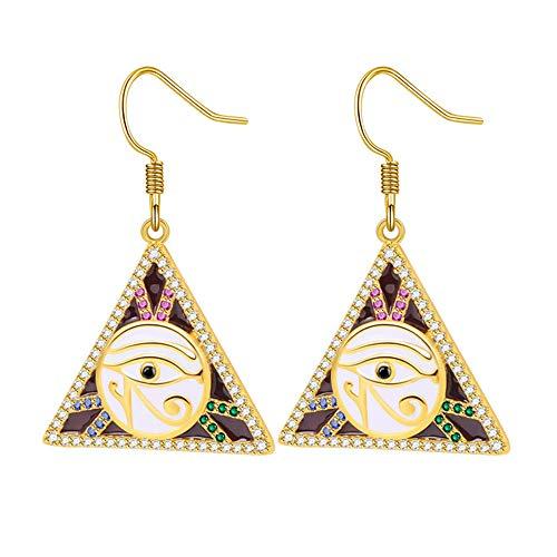 Gnoce Horus Augen baumeln Ohrring Sterling Silber Gold Dreieck Tropfen Ohrringe mit mehrfarbigen Steinen Mode Ohrringe Geschenk für Frauen Mädchen