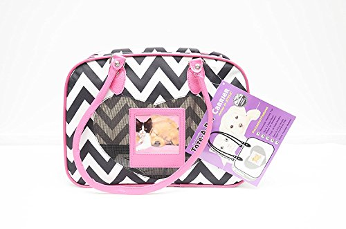 Tote-A-Pet Fur Friendly Carrier Black & White Chevron Stripes, Cabin Friendly