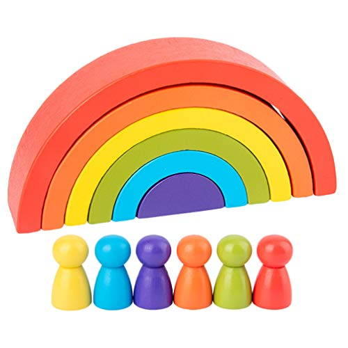 Tomaibaby 1 Set di Gioco in Legno con Arcobaleno di Accatastamento con Piccole Persone Forma Creativa di Colore della Costruzione Abbinata a Giocattoli Educativi Puzzle Educativi per