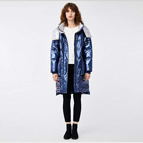 Winter Down Jacket, Mid-length jas met capuchon for dames Stijlvolle jas met grote zak, Light Aurora stof, dubbele rits, outdoor sporten, elegant, gift (Color : Blue, Size : XS)
