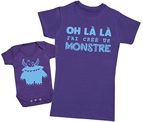 Zarlivia Clothing Oh là là J'Ai créé Un Monstre Bleu - Ensemble Mère Bébé Cadeau - Femme T Shirt & bébé Bodys - Violet - XXL & 12-18 Mois