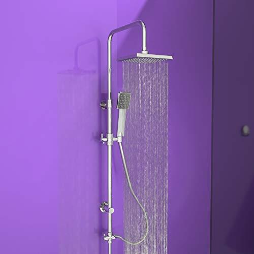 EISL EASY REFRESH Duschset Duschsäule mit Regendusche 175 x 175 mm und Handbrause, ideal zum Nachrüsten-Nutzung vorhandener Bohrlöcher komplettes Montageset DX12002