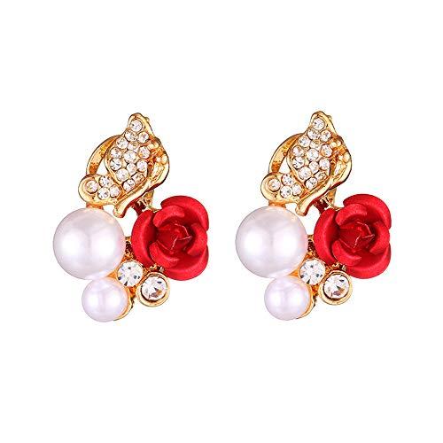 1 Par De Pendientes De Botón De Cristal Chapado En Perlas De Imitación De Flor De Rosa Roja