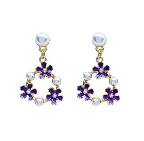 Romantic Purple Petal Pearl Inlaid Metal Hoop Drop Earrings Korean Cute Flower Pendent Earrings for Women Girls Ear Jewelry Gift 2pcs
