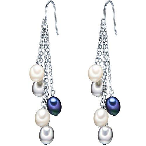 Valero Pearls Orechinni pendenti da Donna in Argento Sterling 925 con rodio con Perle coltivate d'acqua dolce bianco grigiore blu pavone 60201338