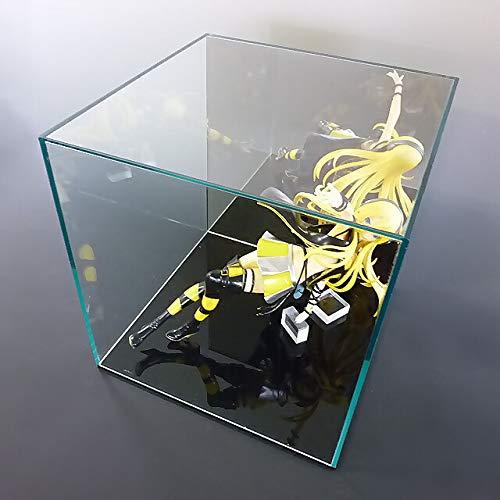 【平台座 黒】 ガラス色コレクションケース 背面ミラー W400mm H200mm D200mm