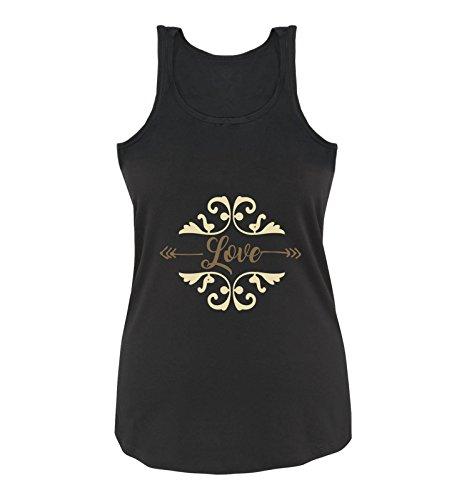 Comedy Shirts - Love Ornament - Damen Tank Top - Schwarz/Hellbraun-Beige Gr. XL