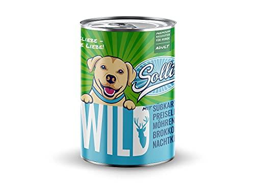 Sollis Hundefutter Nassfutter 6er-Pack   ohne Getreide   Verschiedene Sorten & Größen (Wild, 6x400g)