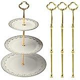 LIVEGREEN Kit de Accesorios para Tartas de Oro, Soporte para Tartas de 2 o 3 Niveles, diseño de...