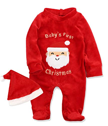 Von kilizo Christmas Footed Clothes for Baby & Infant My 1st Christmas Romper with Matching Santa Hat 9-12 Months Red