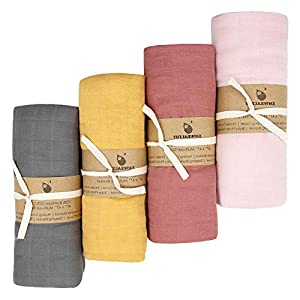 XMWEALTHY 4 Packs Soft Swaddle Blankets Sets 47″ x 47″ Organic Baby Receiving Blankets Muslin Baby Wraps Sets for Boys & Girls Ideal Newborn Gifts