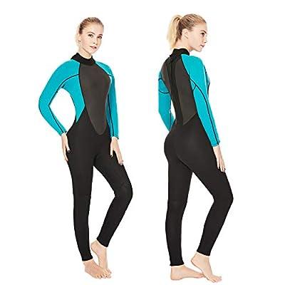 REALON Womens Wetsuit Full 3mm Neoprene Surfing Scuba Diving Snorkeling Swimming Suit (Black Blue 3mm, XL)