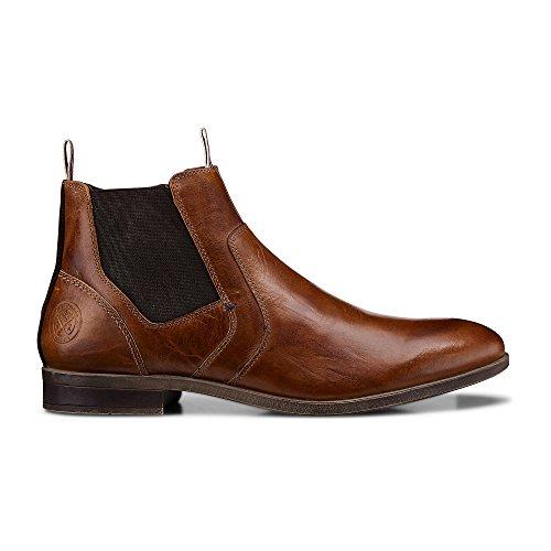Cox Herren Chelsea-Boots in Braun aus Leder, Stiefelette mit Stretch-Einsatz Braun Glattleder 44