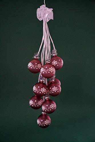 """Glaskugelgehänge Kugelgehänge Glas Leuchter \""""Stern\"""" altrosa 10flammig beleuchtet ca. 65 cm lang Weihnachten Advent Geschenk Dekoration (41046)"""