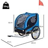 PawHut® Hundeanhänger Fahrradanhänger Hunde Fahrrad Anhänger Blau/Schwarz NEU - 6