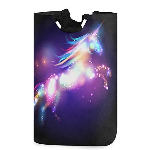 N\A Cestas de lavandería con Asas, póster de Estrellas de Unicornio, cesto de lavandería Grande, contenedores de lavandería Impermeables Plegables para dormitorios domésticos