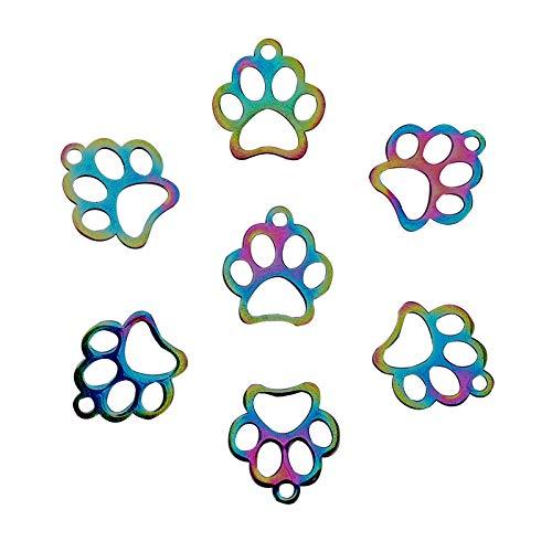 CHGCRAFT 15 Pezzi di Zampa di Cane in Acciaio Inossidabile Stampe Ciondoli Ciondolo Colorato per Animali Domestici per La Fabbricazione di Gioielli co