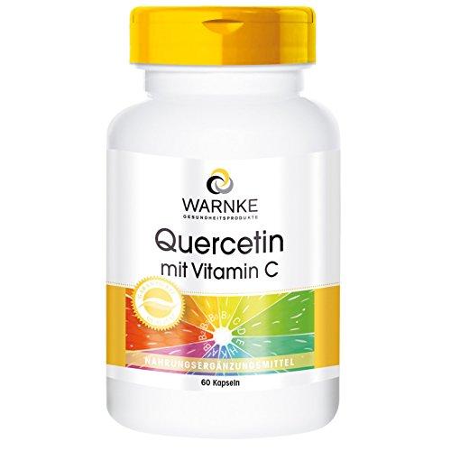 Quercetin mit Vitamin C - 500mg Quercetin pro Tagesdosis - hochdosiert & vegan - 60 Kapseln - Hergestellt in Deutschland