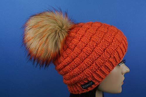 Merino-Mütze ANTHOLZ orange Unisex mit vegetarischem Fellbommel Beanie von siamo-handmade
