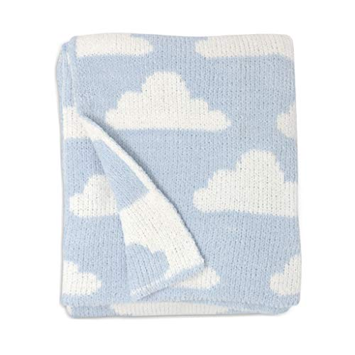 Product Image of the Living Textiles Blue Clouds Chenille Soft Baby Blanket Premium Cozy Fabric for...