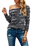 HIYIYEZI Women's Off The Shoulder Tops Casual Long Sleeve T Shirts (Large, Fp Camo Gray)