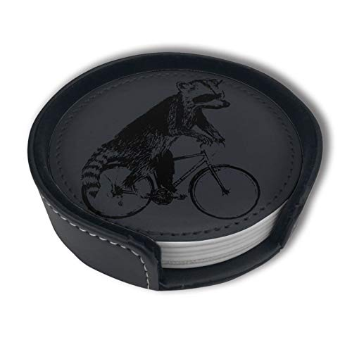 Raccoon Ride Bike Drinks Coasters With Holder, Suitable For Kinds Of Cups, Set Of 6